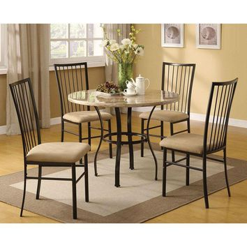 Round 5-Piece Dining Room Set with White Faux Marble Top Table & 4 Chairs