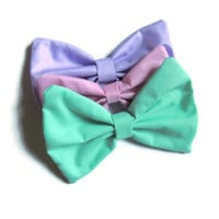 Three Pack Large Pastel Hair Bows  Pink by SuperKawaiiBows on Etsy