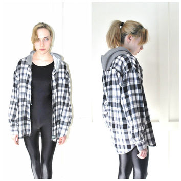 GRUNGE plaid flannel HOODIE vintage 80s 90s black + white UPCYCLED hooded flannel shirt os open size