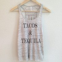 Tacos and Tequila Tank Top Shirt for Women - Flowy, Sleeveless and Soft - Small, Medium, Large