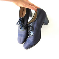 1950s Lace Up Shoes. 50s oxfords. Dark purple netted shoes. 40s dress shoes. Modern vintage womens shoes.