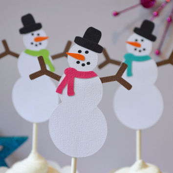 Snowman Christmas Cupcake Toppers