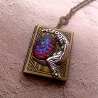 Colors of Sunrise Moon Guardian Book Locket Necklace