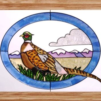 Pheasant Horizontal Stained Art Glass Panel