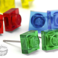 Little Translucent Square Stud Earrings :) made with LEGO bricks - Pick Your Color
