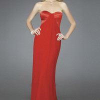 Sheath/Column Sweetheart Chiffon Floor-length Prom Dress With Pleating at Dresseshop