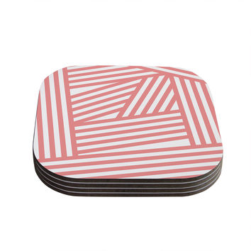 "Louise Machado ""Rose Stripes"" Pink White Coasters (Set of 4)"