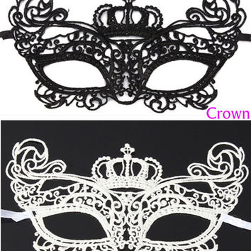 New Hot Sale 1Pcs Sexy Halloween Masquerade Lady Lace Mask Cutout Mask Party White Black Queen Beauty High Class