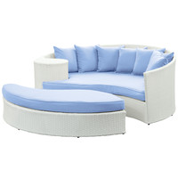 Taiji Outdoor Wicker Patio Daybed with Ottoman White / Light Blue