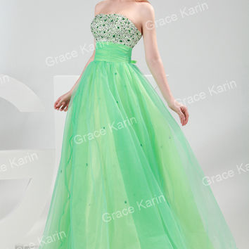 Green Voile Beaded Wedding Ball Gown Evening Prom Party Long Maxi Dresses
