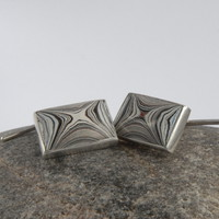 Sterling Silver and Detroit Fordite Cufflinks