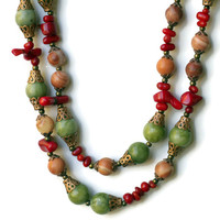 Extra Long Colorful Red Green Brown Wrap Necklace/ Natural Semiprecious Stones/ Multicolored Bohemian Jewelry/ Hippie Necklace/ OOAK Unique