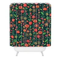 Arcturus Spring Florals Green Shower Curtain