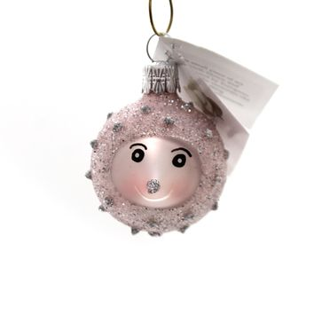 Golden Bell Collection BABY HEDGEHOG Glass Spiny Mammal Ornament An747 Pink