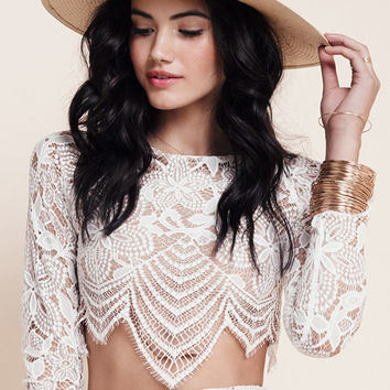 For Love & Lemons Guava Crop Top in White/Nude