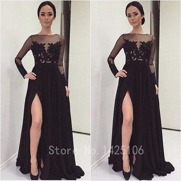 2017Elegant O Neck Long Sleeves Appliques Wedding Party Dresses Elegant Black Bridesmaid Dresses  vestido de festa de casamento