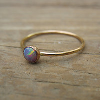 Gold Stacking Ring 38 Fire Opal Gemstone