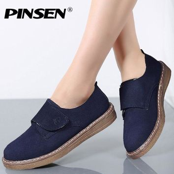 PINSEN Spring Fashion Women Loafers Suede Leather Shoes Hook Loop Moccasins Shoes Woman Flats Women's Casual Female Flat Shoes