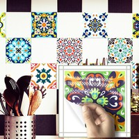 Funlife Mediterranean Retro Tile Sticker,Waterproof Self adhesive Wallpaper for Kitchen Bathroom,Classic Home Decor Wall Decal