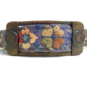 Vintage Levis Belt Embroidered Denim Belt by TheRetroStudio