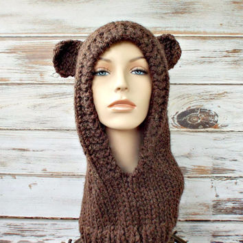 Womens Brown Mama Bear Knit Hooded Cowl Hat - Womens Accessories Fall Fashion Winter Hat