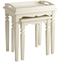 Jenna Nesting Tables with Tray - Antique White