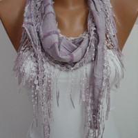 Lilac Shawl and Scarf  Headband - Cowl with Lace Edge -Summer Trends