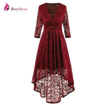 Berydress Elegant Women Wedding Party High Low Skater Dress Sexy V-neck 3/4 Sleeve Full Lace Dresses Short 2017