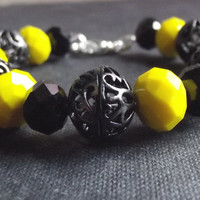 Yellow and Black Bracelet:  Sunny Neon Yellow and Jet Black Chunky Bumble Bee Yellow Jacket Bracelet, Summer Kawaii Jewelry
