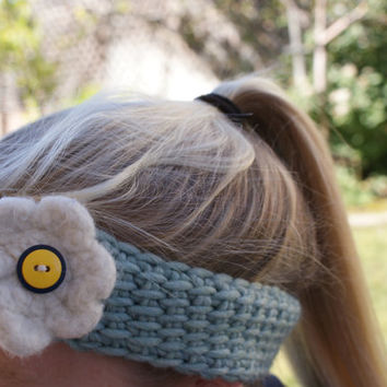 Tunisian Crocheted baby blue soft wool headband with felted flower for 3-5 year olds