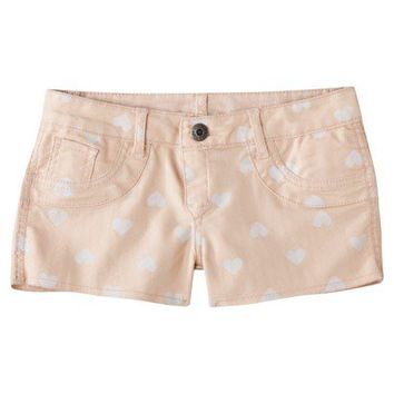 FlipSide Juniors Reversible Denim Shorts - Hearts to Blush Metallic