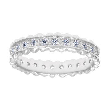 Sterling Silver With Rhodium Finish Ridged Edge White Cubic Zirconia Eternity Band Ring - 4mm Width