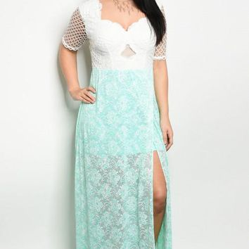 Plus Size Mint Lace Dress