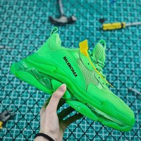 Balenciaga Triple S Clear Sole Trainers Apple Green - Best Online Sale