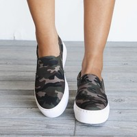 Being Seen Camo Platform Slip On Sneakers