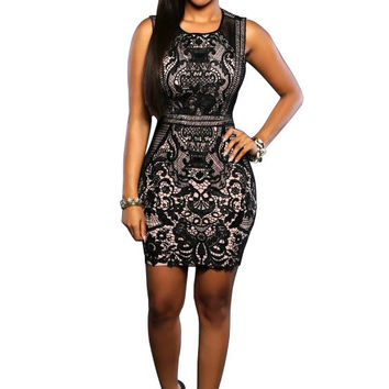 Black Floral Lace Sleeveless Mini Dress