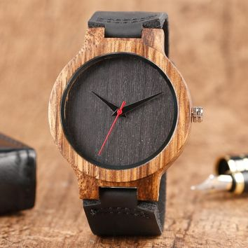 Top Gift Wood Watches Men's Unique 100% Nature Wooden Bamboo Handmade Quartz Wrist Watch Male Sport Red Hands Clock Masculino