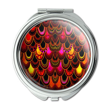 Paisley Scallops Pink Orange Black Compact Purse Mirror
