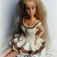 Crochet Barbie Clothes Dress - Beige Sleeveless Above Knee Barbie Dress with Ruffled Skirt, Handmade Barbie Sundress