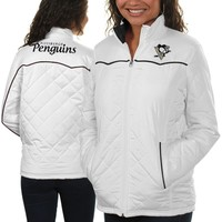 Pittsburgh Penguins Ladies Spectator Quilted Full Zip Jacket - White