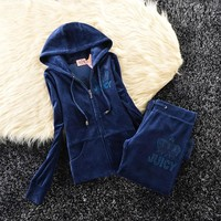 Juicy Couture Studded Simple Logo Crown Velour Tracksuit 31058 2pcs Women Suits Navy