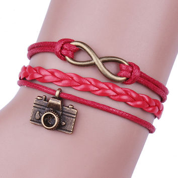 Superior Red Friendship Infinity Leather Cute Camera Charm Bracelet Bronze DIY August 23