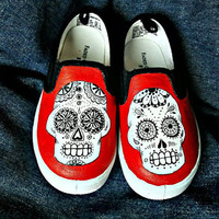 Hand-painted Day of the Dead Skulls on Vans shoes