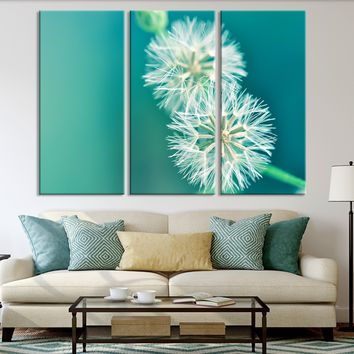 XXL 5 Panel Wall Art Canvas Print Dandelion Flower - Turquoise Background Blowball Canvas Printing