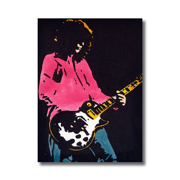 Jimmy Page RETRO  - Giclee Wall Art Canvas Poster print