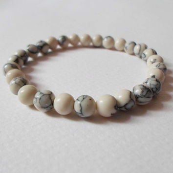 White Turquoise 6 mm beads Bracelet, Unisex Mens White Howelite Bracelet, Mantra Bracelet, Yoga Zen Jewelry Yoga Bracelet Gemstone Bracelet