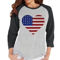 Women's 4th of July Shirt - American Heart Shirt - Grey Raglan Shirt - Women's Baseball Tee - Fourth of July Shirt - American Pride Outift