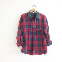 vintage Mickey Mouse flannel shirt. green and red button down shirt. size XX large