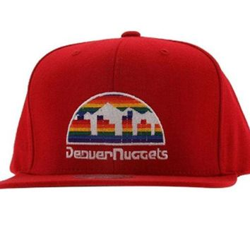 ONETOW Denver Nuggets Solid Red Adjustable Vintage Snapback Hat Mitchell & Ness in Red