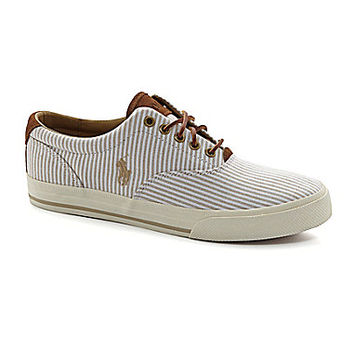 Polo Ralph Lauren Vaughn Striped Sneakers - Adirondack Khaki/White